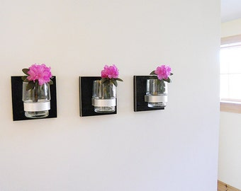 FLOWER VASE: Functional Art with Solid Background. Great for Wall Decor or Artistic Office Organization. Great Housewarming Gift!