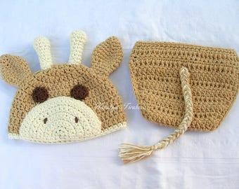 Crochet Giraffe Hat and Diaper Cover/Photo Prop/Giraffe hat/crochet giraffe hat/giraffe photo prop/newborn giraffe hat/giraffe diaper cover