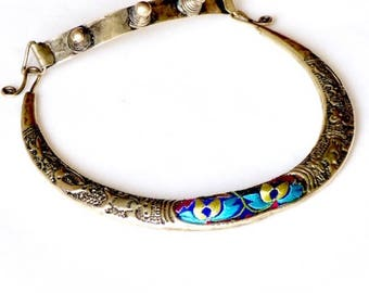 Miao necklace, tribal embroidered necklace, tribal jewelry, miao tribes