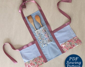 Girls super easy Kitchen APRON pattern pdf, Girl sewing pattern, kids apron pattern, Children's sewing pattern pdf, apron pattern pdf, DIY
