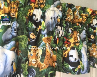 "Curtain Whimsical Jungle Baby Animals Elephant Tiger Zebra Panda Koala Giraffe Gorilla Birds Kids Room Decor 11"" or 14"" x 42"" Wide"