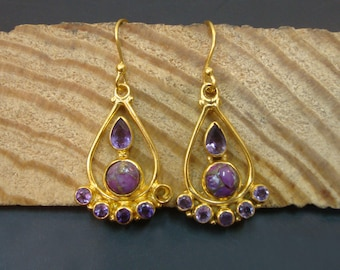 Lovely Copper Turquoise Or Amethyst 925 Sterling Silver Dangle Gold Plated Earrings