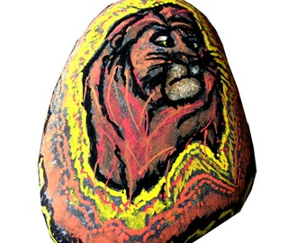 The Lion King Painted Rock - Mufasa- Handpainted stone OOAK - Disney inspired- Free Shipping- Decoration, Lion King Gift