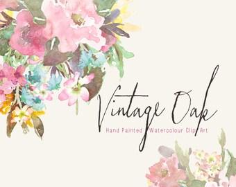 Watercolour Vintage Floral Art Collection - Hand Painted Clip Art - Vintage Oak