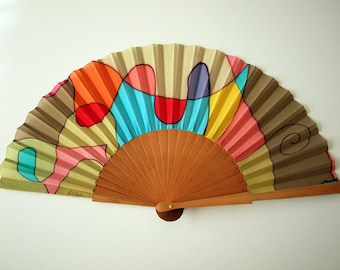 Hand fan Handpainted Silk- Abanico- Wedding gift- Giveaways- Bridesmaids- Spanish hand fan - 17 x 9 inches (43 cm x 23 cm)
