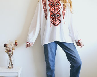 Vintage 70s Blouse, Peasant Blouse, Embroidered Tunic, Hippie Blouse, Bohemian Clothing