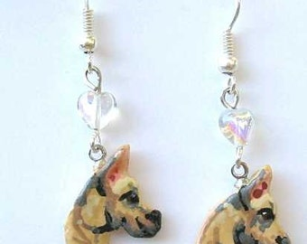 Hand-painted GREAT DANE Fawn Artist Hand-Sculpted Clay Earrings NICE