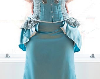 Dress; Alternative wedding, graduation or prom special occasion wear, turquoise corset dress; Steampunk or Victorian dress; Velvet Tigers UK