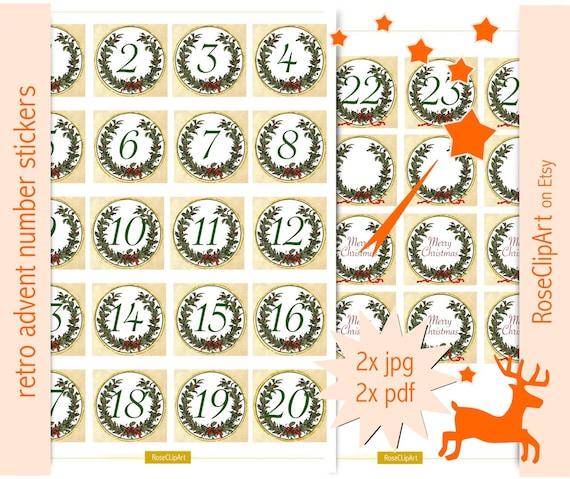 items similar to printable advent calendar numbers. Black Bedroom Furniture Sets. Home Design Ideas