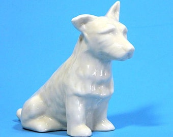Irish Belleek Terrier Dog Figurine 3rd Green Mark