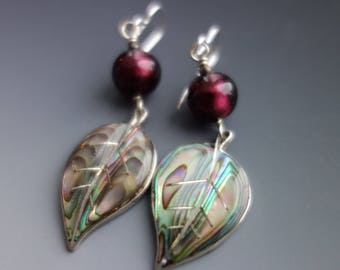 Vintage Mexico Carved Abalone Sterling Leaf Earrings