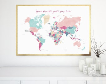 World wall map etsy custom quote printable world map with countries names girl nursery map with quote gumiabroncs Choice Image