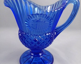 Vintage Cobalt Blue Footed Cream Pitcher