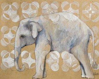 3 Cards with envelopes - Elephant - print of original Drawing