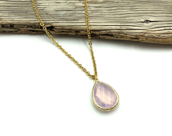 DELILAH: pink opalite drop necklace