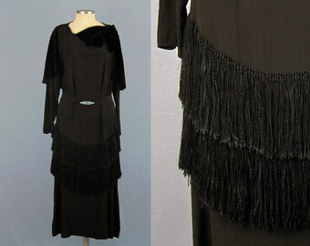 Incredible 1920s Dress / 20s Silk Dress / Silk Fringe / 1920s Fringed Flapper Dress