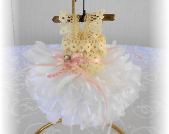 Handmade Faerie, Fae, Miniature Dress Fairy Dress, White Carnation, Beige and Pink, Fairy Garden, By Willow Bloome