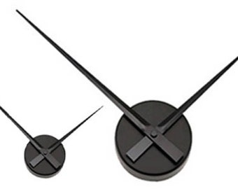 Large Sleek Black Wall Clock - Hands Only