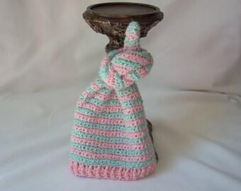 Micro-preemie Girl, Boy Winter Crochet Hat, Pink & Blue Knotted Crochet Hat, Striped Preemie Elf Hat, NICU Preemie Hat, Newborn Hat