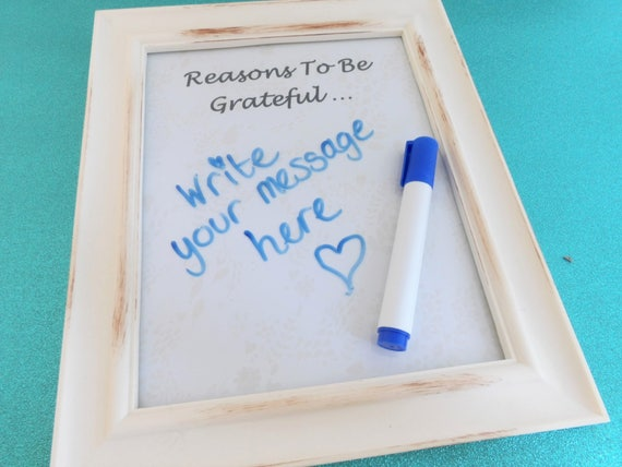 A Reasons To Be Grateful Message Frame. Personalised Dry Wipe