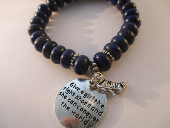 Lapis Lazuli Rondelle, High Heel and Give A Girl The Right Shoes Stretch Bracelet B6261715