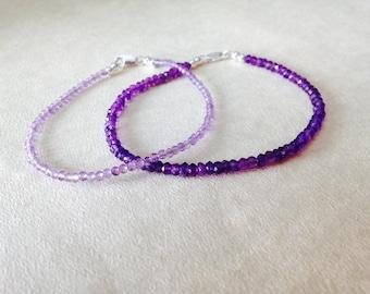 Amethyst bracelet/ gemstone bracelet/ birthstone jewelry/ birthstone bracelet/ February birthstone bracelet/ delicate amethyst bracelet