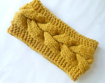 Knit Headband  Ear Warmer Head Warmer Mustard Yellow