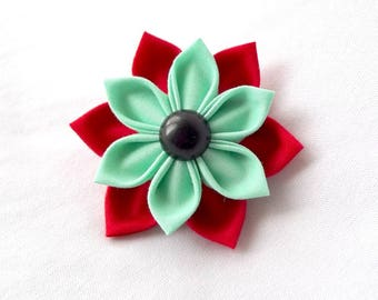 Red and Mint Kanzashi Succulent Hair Clip