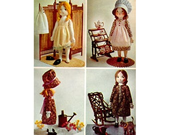 Holly Hobbie Rag Doll Sewing Pattern, Doll Dress, Skirt, Pinafore, Slip, Bonnet, Shoes, Vintage 1970's Craft Pattern, UNCUT Simplicity 6006