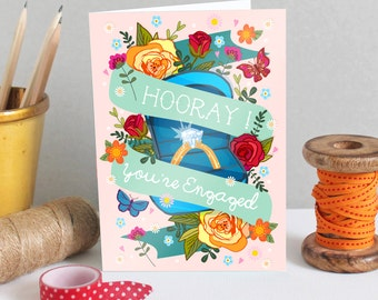 Engagement Card - Congratulations Card - 'Hooray, You're Engaged' - Getting Married Card - Engaged - Engagement