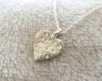 Silver heart pendant sea urchin texture heart shaped necklace//solid silver heart pendant