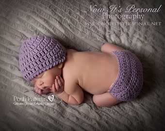 Crochet PATTERN - Crochet Hat Pattern - Diaper Cover Crochet Pattern - Baby Crochet Patterns - Photo Prop Pattern - PDF 142