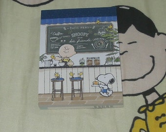 Snoopy and Charlie Brown Cafe pattern Memo Pad
