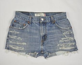Levi's Vintage Denim Blue High Waisted Cuttoff Shorts Size 32