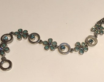 M4M Silver Tone Flower Rhine Stone Bracelet