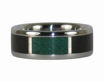 Chrysocolla and Blackwood Titanium Ring