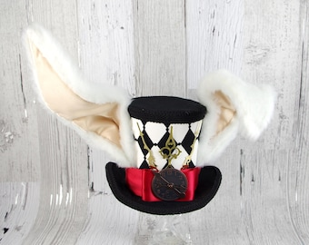 The White Rabbit - Black, White and Red Harlequin Clockwork Bunny Large Mini Top Hat, Alice in Wonderland Mad Hatter