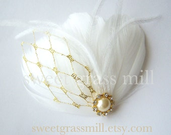 """Fascinator Great Gatsby White Feather Ostrich Gold Veil Netting Bridal Clip """"Petit Doree"""""""