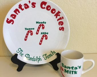 Personalized Santa's Cookies plate with matching cup