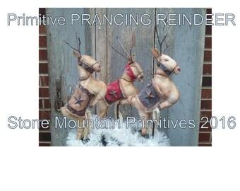 Primitive Grungy Dancing PRANCING REINDEER PDF Pattern Christmas Great Seller! StoneMtPrimitives