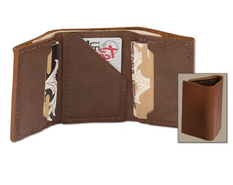 Genuine bison leather tri-fold wallet kit - diy - make your own wallet - craft project - leather craft