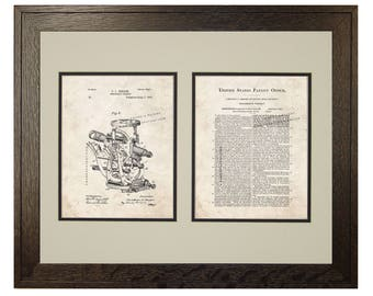 Framed Patent Print - Engineer's Transit WITH Real Rustic Wood Frame - Framed Patent Art