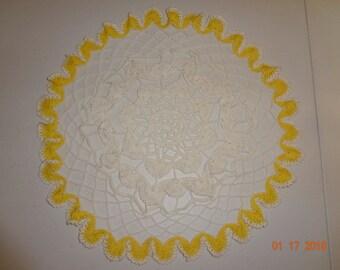 Vintage Handmade Large Yellow & White Crochet Crocheted Doily