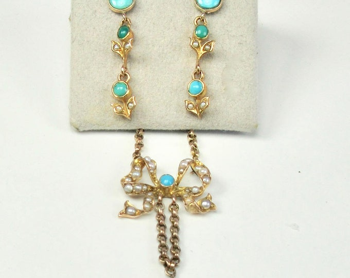Art Nouveau Bow Necklace and Earring Set with Pearls and Turquoise, Art Nouveau Necklace, Art Nouveau Earrings, Turquoise Earrings
