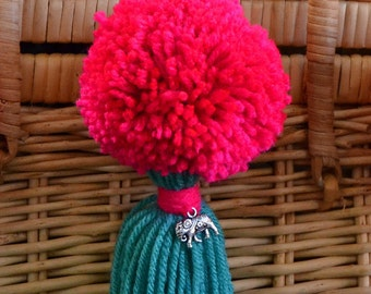 Pink and Turquoise Pom Pom & Tassel Clip-on with Elephant Charm -  Keychain, Beach Bag or Backpack Flair Clip