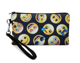 Cell Phone Wristlet Purse, Padded iPhone 8 Plus Case, Smiley Fabric Phone Wallet, Womens Smartphone Wristlet - emoji yellow black