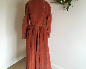 Vintage 70s 80s Rust Coloured Cord High Neck Maxi Dress.