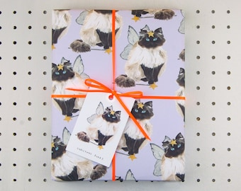 Furry Cat Eco Wrapping Paper - blank inside - beautifully illustrated gifts - eco friendly stationery - greetings cards - made in the UK