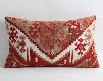 Kilim pillow lumbar 12x20 vintage pillow cover, boho pillow, hand woven pillow