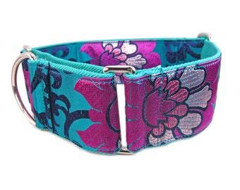 Martingale Collar, Teal Dog Collar, Pink Dog Collar, Girl Dog Collar, Custom Dog Collars, Whippet Collar, Wide Dog Collar, Greyhound Collar